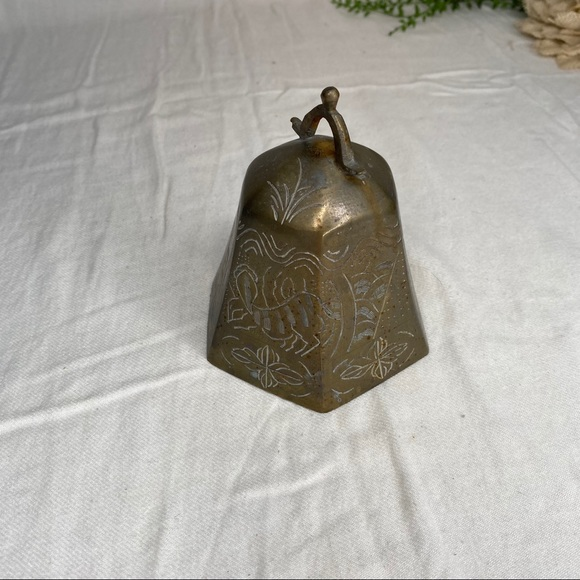 """Etched Brass Domed Bell Without Pendulum 4.5"""" Tall"""